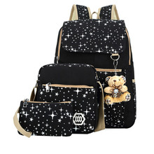 6 Colors Backpacks Brand 3 pieces Sets Women Backpack Star Printing Canvas School Bags for Teenager Girls Shoulder Bag bookbags