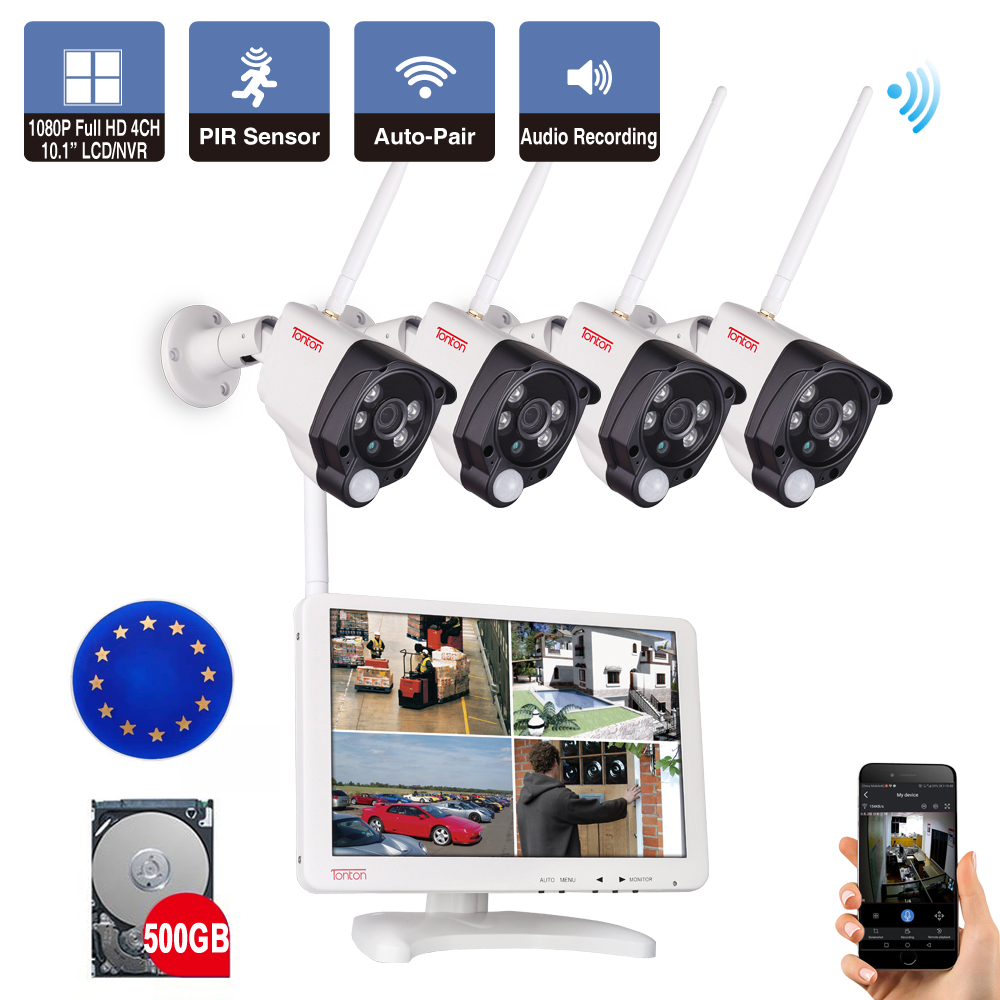 Tonton 4CH 1080P Wireless CCTV System 10.1 LCD WiFi NVR Kit 2MP Outdoor Security IP Camera P2P Video Surveillance System 500GB 4ch wireless nvr kit 13 lcd monitor screen waterproof 1080p 2mp security cctv ip camera wifi p2p video surveillance system set