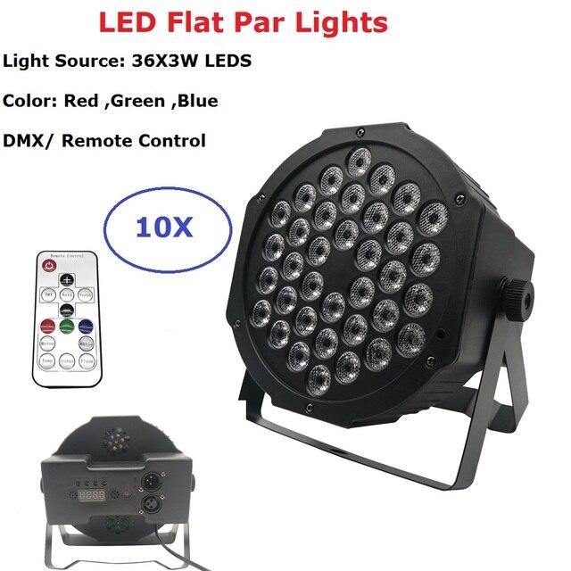 10Pcs/Lot Professional LED Par 36X3W RGB LED Flat Par Lights DMX Stage Lighting Effect Lights Perfect For Disco Lights Party Bar