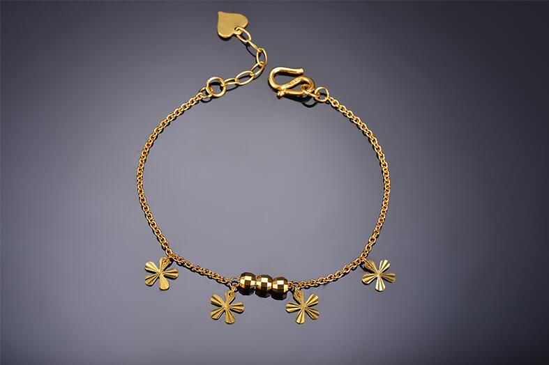 Bracelet en or jaune 999 24 K solide Bracelet en perles pour hommes et femmes