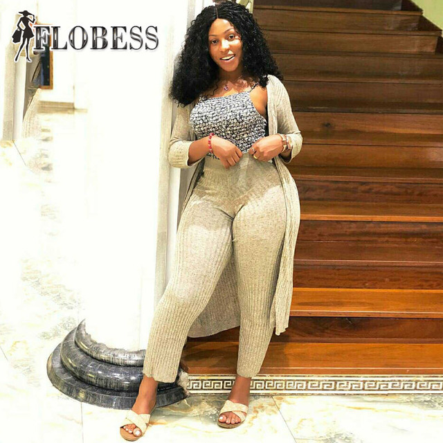 Flobess Women Fashion Knitted Two 2 Piece Set Cape Coat + Long Pants 2018 Autumn Winter Female Sexy Club Casual Clothing