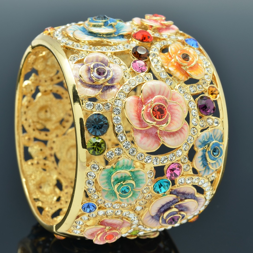 High Quality Real Austrian Crystals Rhinestone Enamel Women Rose Flower Big Bracelet Bangle Cuff SKCA1767M On Sale цена 2017
