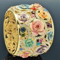 High Quality Real Austrian Crystals Rhinestone Enamel Women Rose Flower Big Bracelet Bangle Cuff SKCA1767M On Sale