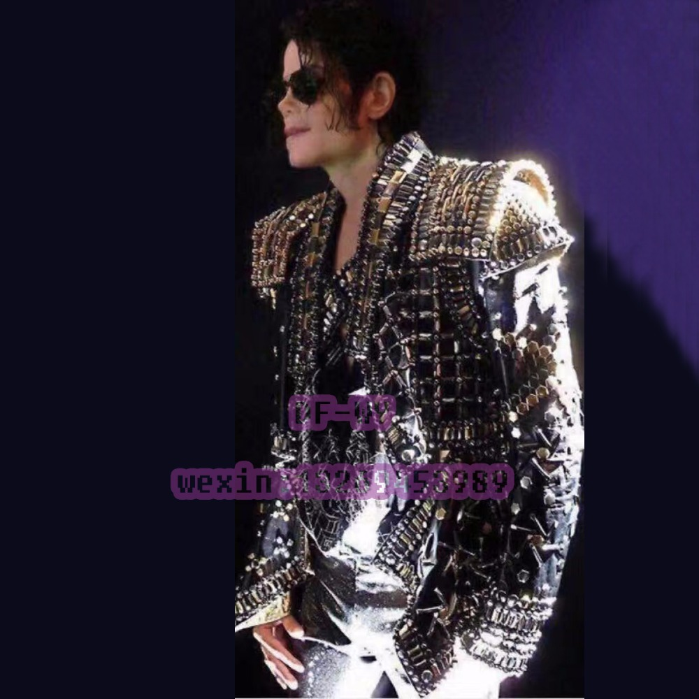 Michael Jackson rivet punk leather jacket is suitable for a particular bar nightclub stage performance clothing male singer male