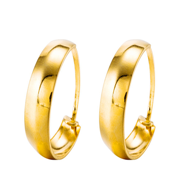fa68ac7f42033 New Arrivals Plated 24K Genuine Gold Earring Smooth Curve Twisted Hoop  Earrings Gold Color Plating Metal Earrings for Women -in Hoop Earrings from  ...