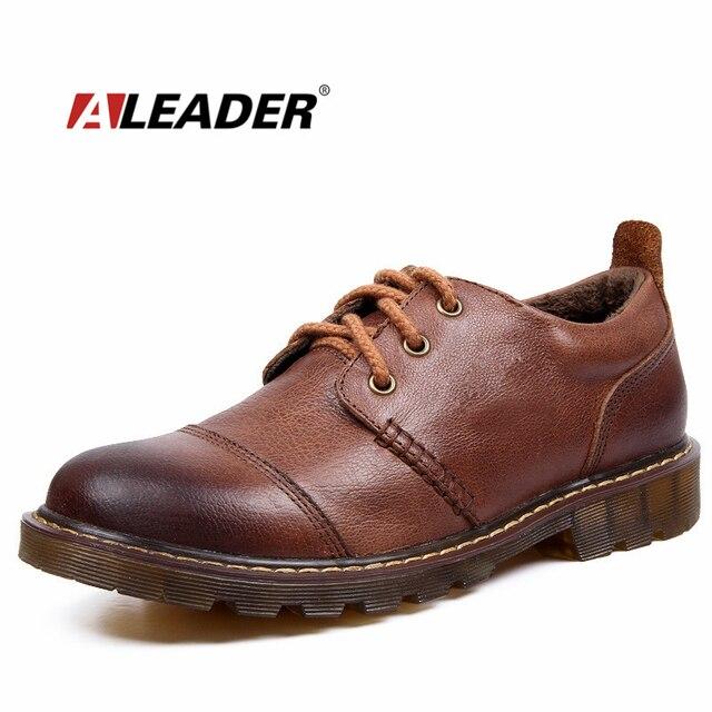 Hombres de invierno Zapatos Calientes 2016 de Los Hombres Ocasionales de Cuero Genuino Oxfords Zapatos de Piel Zapatos de Trabajo Impermeables Mens Snkeaers sapatos masculino