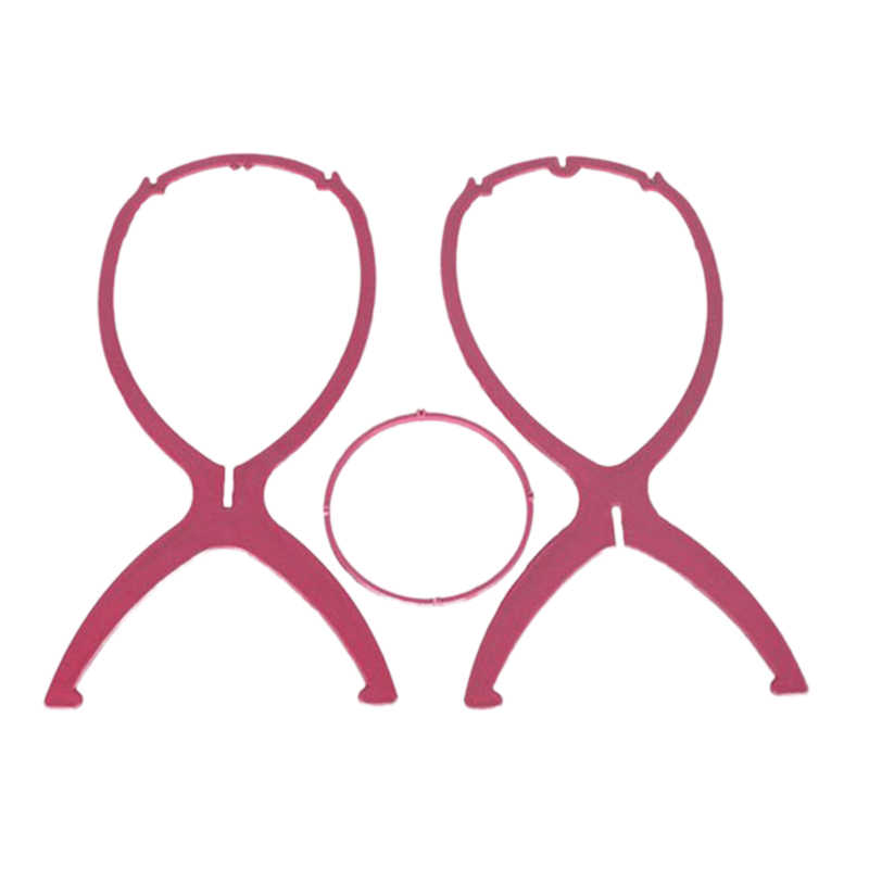 1 st Roze Plastic Pruik Stands Salon Folding Duurzaam Haar Pruik Hoed Roze Mode Model Dummy Hoofd Holder Stand Weergave styling Tool