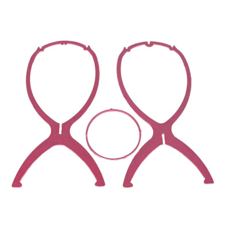 1Pc różowa plastikowa peruka stoi Salon składany trwałe włosy czapka z peruką różowy Model mody manekin uchwyt głowicy stojak wyświetlacz urządzenie do stylizacji