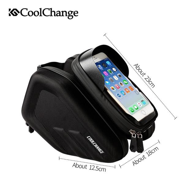 CoolChange Radfahren Tasche Doppel Beutel 6,2 Zoll Touch Screen Wasserdichte Fahrrad Tasche Rahmen Vorne Kopf Top Rohr Fahrrad Telefon Tasche