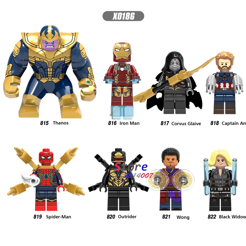 50pcs marvel Avengers Infinity War Iron Man Lady Death Captain America Outrider Glaiva Spider Man building