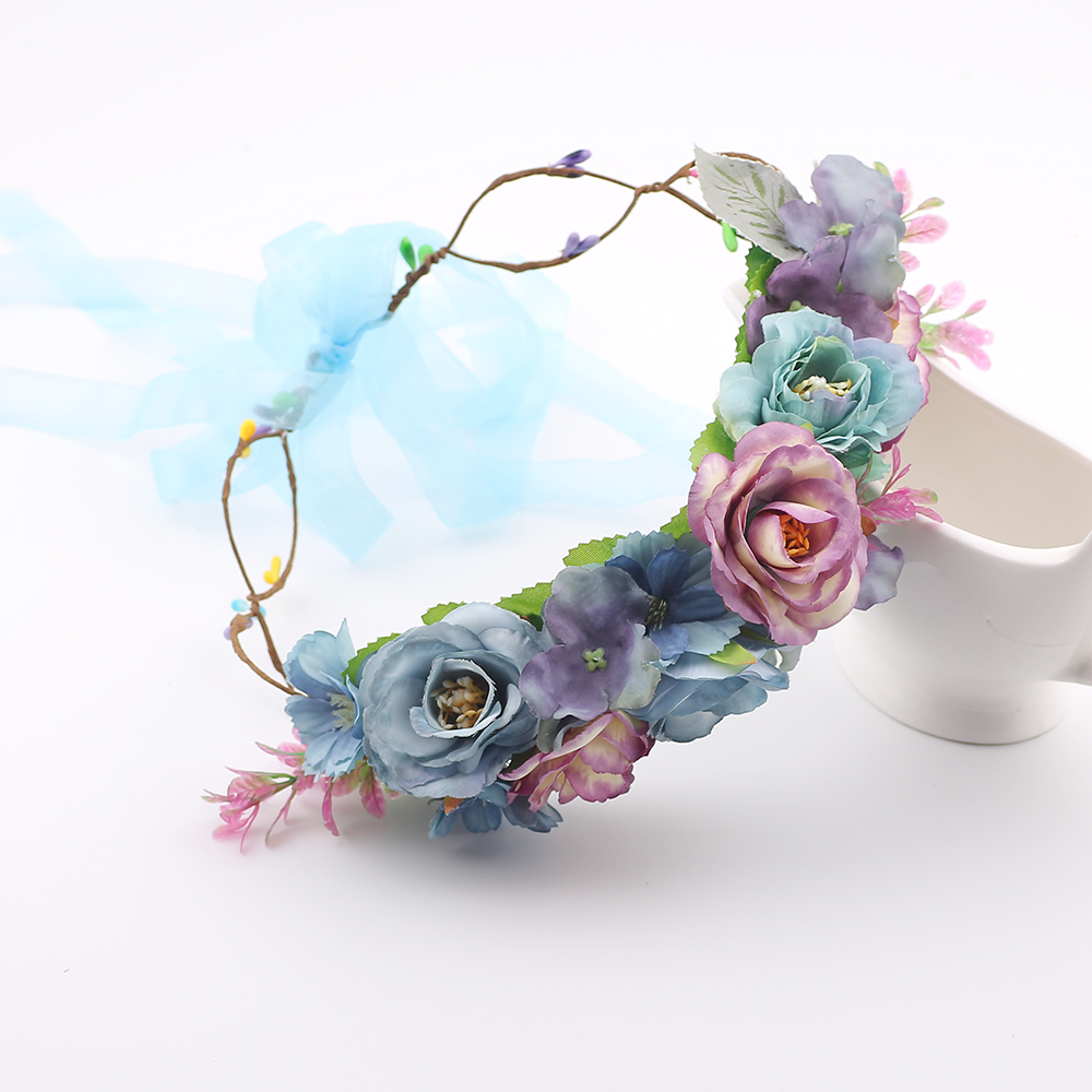 New arrival Women Bohemia Flower Floral Garland Hairband Girl Crown Headband Party Travel Wedding Bride Beach   Headwear