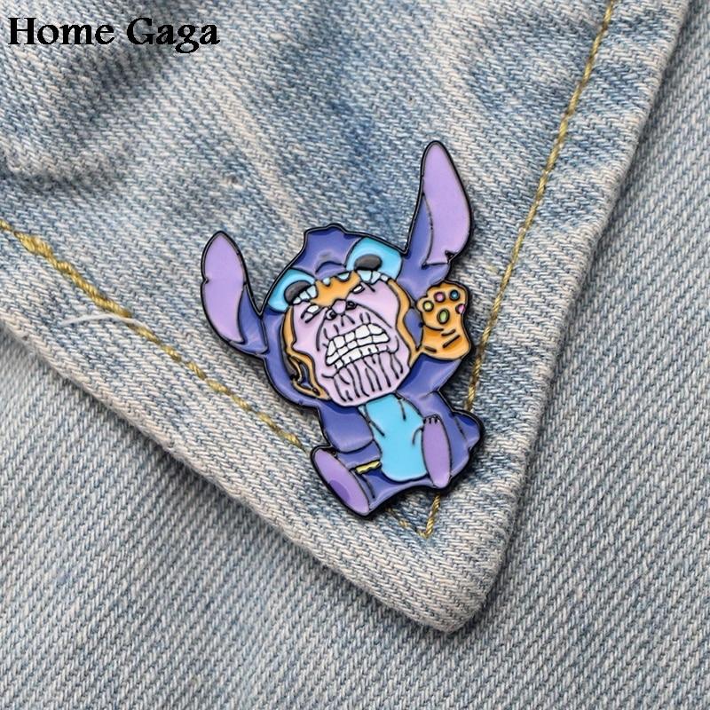 10pcs/lot Homegaga Super Hero Stitch Thanos Cartoon Funny Pins Backpack Clothes Brooches For Men Women Hat Badges Medals D1481 Arts,crafts & Sewing