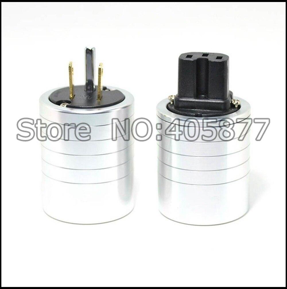 High quality aluminum gold plated US power plug IEC connector plug
