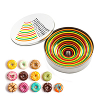 12pcs Colorful Pvc Tops Round Vegetable Cutter Mold Stainless Steel Cookie Cutter Mold Set