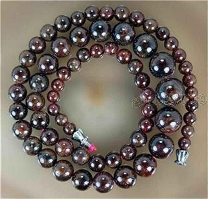 """Natural 4-12mm Dark Red Garnet Round Gem stone Beads Necklace 17"""" AAAAAAAAAAAA Free shipping"""