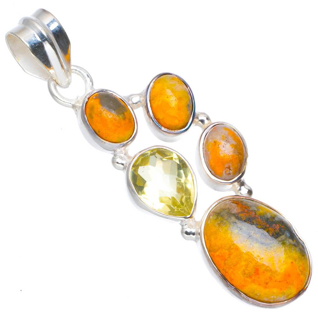 Natural Bumble Bee Jasper and Citrine Handmade Unique 925 Sterling Silver Pendant 1.75