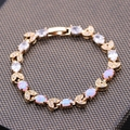 High Quality Fashion White/Pink/Orange Fire Opal Zircon Bracelets For Women Gold Plated pulseira Jewelry Chain Bracelet 3colors