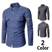 Fashion Casual Men's Long sleeved Shirt Spring And Autumn New M 3XL Multi pocket Print Slim Shirt Blue Personality Youth Popular