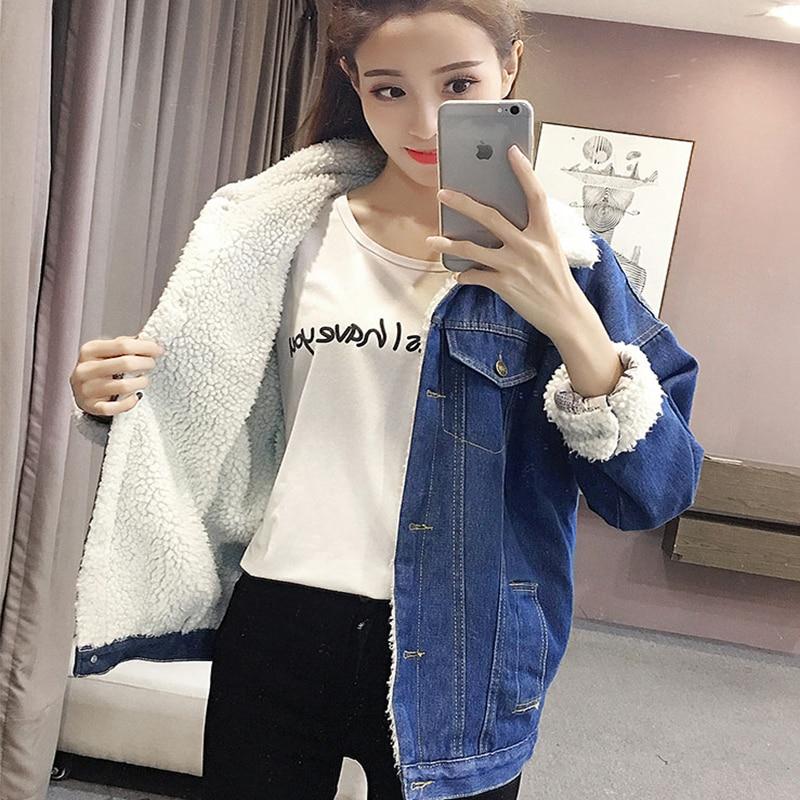 0a8308b0b850 Chaud d hiver denim veste pour Femme 2019 nouvelle mode Automne Hiver Laine  doublure Jeans Manteau Femmes blousons d aviateur casaco feminino dans Vestes  de ...