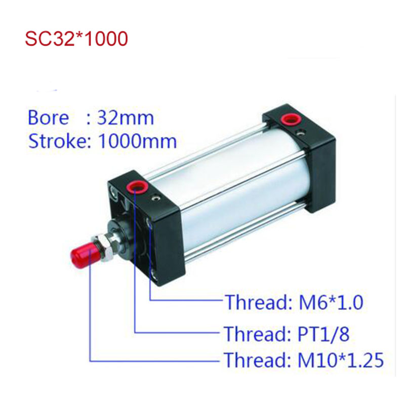 SC32*1000 Standard air cylinders valve 32mm bore 1000mm stroke single rod double acting pneumatic cylinder sc32 175 sc series standard air cylinders valve 32mm bore 175mm stroke sc32 175 single rod double acting pneumatic cylinder