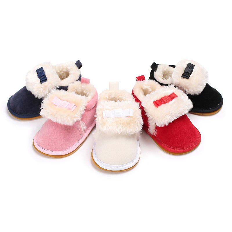 Baby Girls Winter Autumn Warm Soft Bottom Shoes Lovely Princess Style Solid Cute Stuffed Bowknot Cashmere Shoes First Walkers