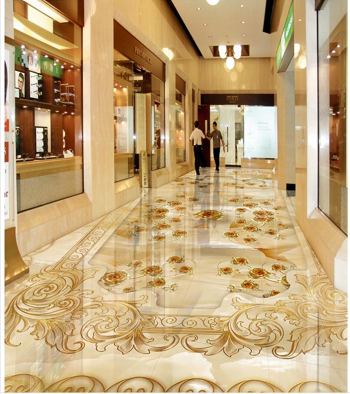 Marble Relief Golden Rose 3D Room Wallpaper Floor 3d Floor