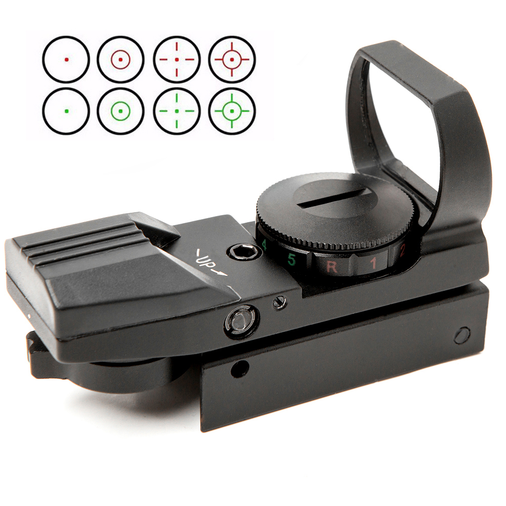 Tático Retículo Electro Dot Sight 4 Retículas Holográfica Red Green Dot Sight Scope Colimador Riflescope Caça Airsoft Óptica