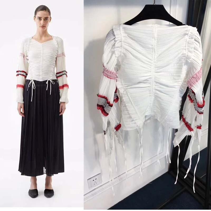 Longues Femmes Femme Mode Blanc Tops 2018 Haut Conception Fring Gamme Top Manches Off Plissé À Tunique Vetement Étranger Choses Crop De dapqXwna
