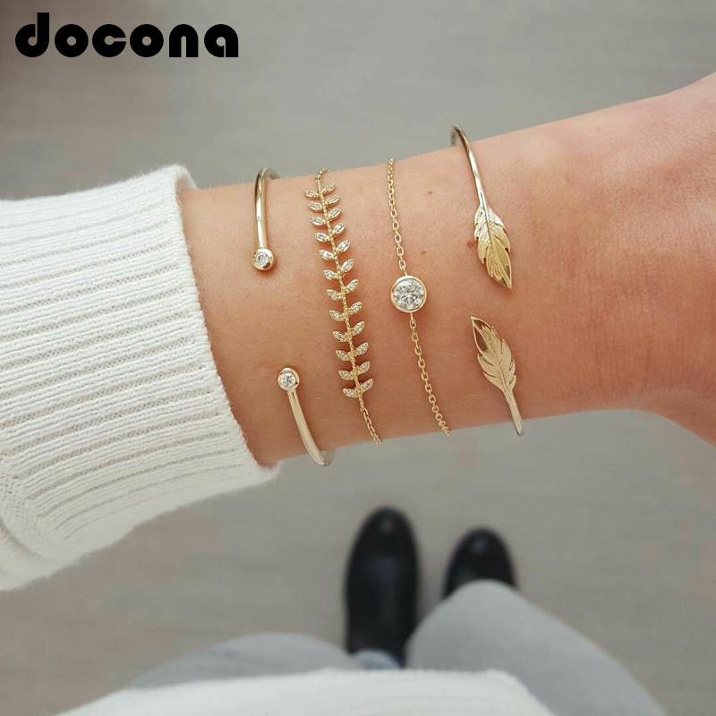 docona Trendy Gold Color Crystal Leaf Bracelet Set for Women Open Adjustable Bracelets Bangle Party Jewelry 6885 image