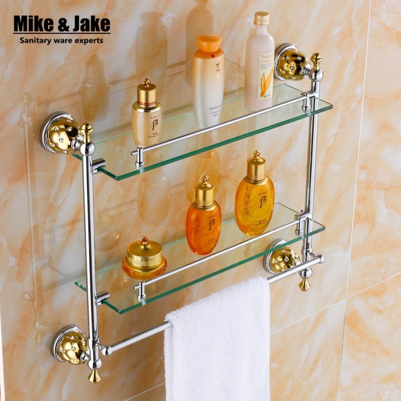 Bathroom glassshelf Solid Brass chrome Finish wall glass shelf With ...