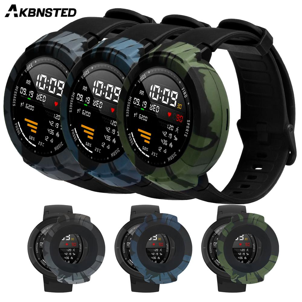 AKBNSTED Soft Silicone Camouflage Silicone Protective Case For Xiaomi Huami Amazfit Verge Smart Watch Replacement Watch Cover
