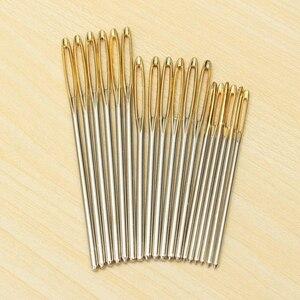 Image 5 - 18 teile/satz 7/6/5,2 cm 3 Größen Große Leder Hand Nähen Nadeln Gold Augen Nadel Stickerei Tapisserie hause Wolle DIY Nähen Nadeln
