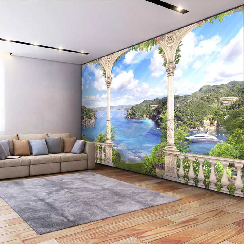 Пользовательские 3D Фото Обои фреска Papel де Parede римская колонна 3D стерео пространство природа пейзаж настенная живопись Гостиная фрески
