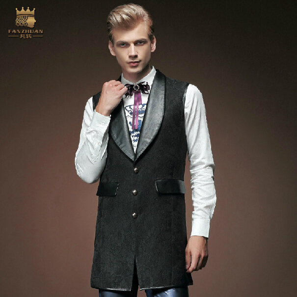 Free Shipping New fashion casual male Men's Fall collar Slim black sleeveless vest and long sections coat tide coat 15682