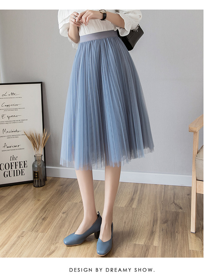 HTB1HDbLLrPpK1RjSZFFq6y5PpXaG - Tulle Skirts Womens Midi Pleated Skirt Black Pink Tulle Skirt Women Spring Summer Korean Elastic High Waist Mesh Tutu Skirt