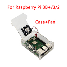 2018 Raspberry Pi 3 Model B+ Plus Acrylic Case Transparent Box Shell + CPU Cooling Fan for Raspberry Pi 3/2