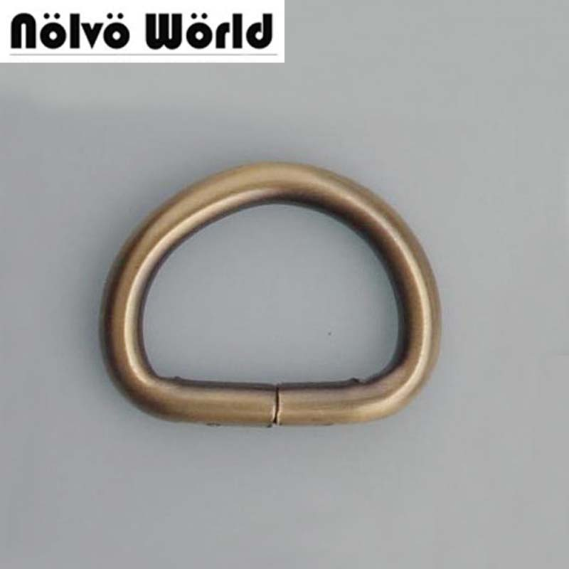100pcs 4.0mm 20mm 3/4 Inch Inside Brushed Antique Brass Open D Ring Hardware Metal D-ring For Handbag