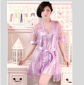 Sexy Women Silk robes Sleepwear women Pajamas, robe and Nightdress 2 PCS set ,pijamas mujer Ladies Lingerie nightgown