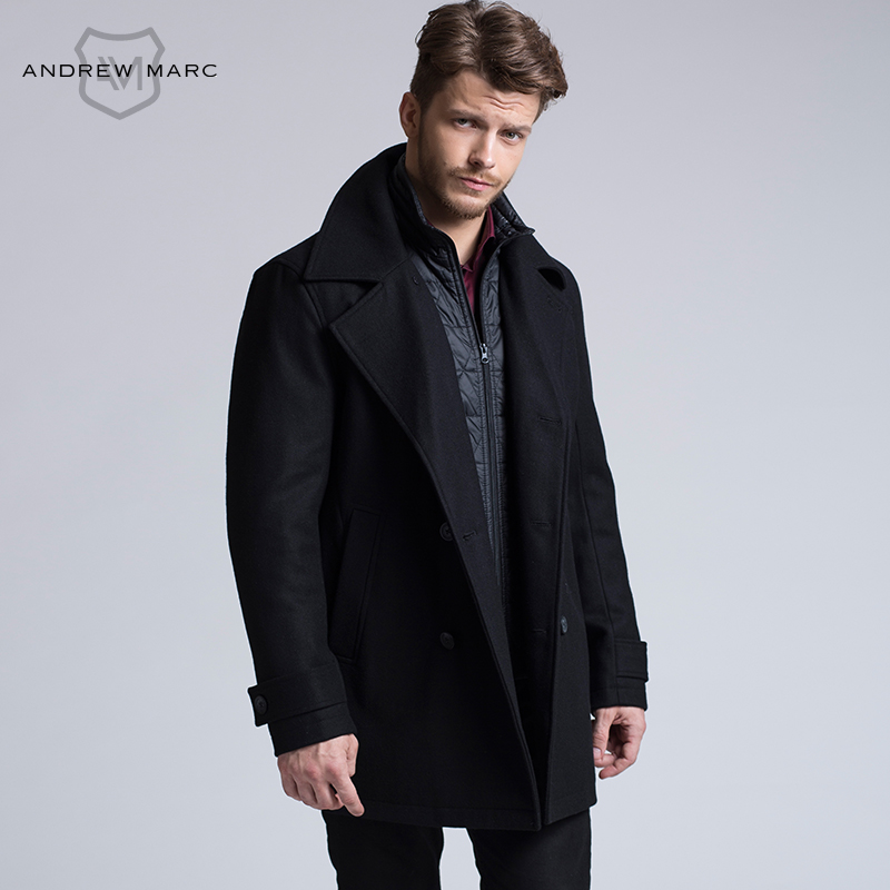 ANDREW MARC 2016 Business Man Wool Blends Jackets Cool Parkas Overcoat Turn Down Collar Windbreaker Trench