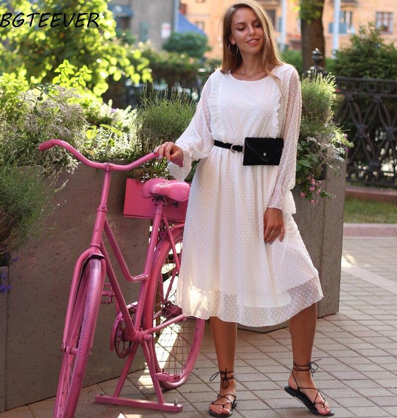 BGTEEVER Ruffles Polka Dot Women Chiffon Dress Elastic Waist Flare Sleeve Female Long Vestidos A-line White Dress 19 7