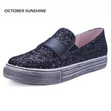OCTOBRE SOLEIL Chaussures 2017 Respirant dames Hauteur Croissante de Femmes doux appartements pour femmes (or/argent/noir) Q7123