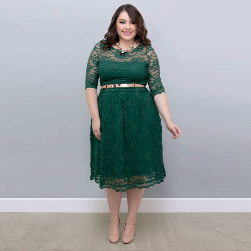 2017 Fshion Spring Summer Mother dress Lace See Through With Sashes Half Sleeve Green Mother of The Bride Dresses Plus size