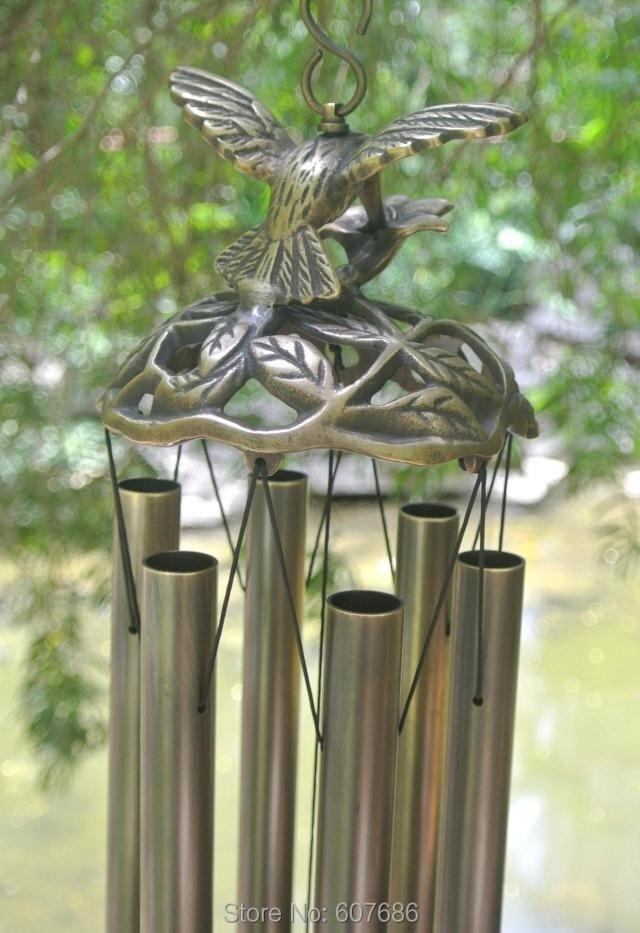 Carillon à vent oiseau volant carillon pur laiton carillon à vent métal suspension cloche colibri extérieur ferme chambre porche décoration