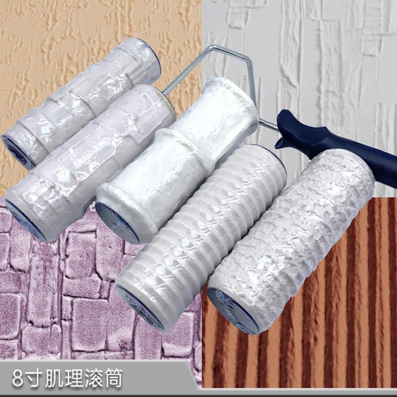 Rodillo de pintura con estampado de 8 pulgadas, herramienta decorativa, rodillo de tinta para pintura de pared, herramientas de construcción DIY de goma para dibujo de piedra de imitación, 1 unidad