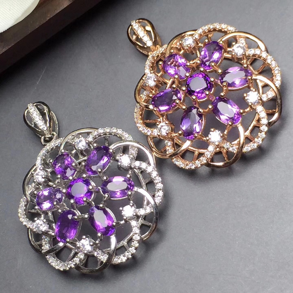 Fine Jewelry Real 925 Steling Silver s925 100% Natural Amethyst Gemstone Female Pendant Necklaces Christmas GiftFine Jewelry Real 925 Steling Silver s925 100% Natural Amethyst Gemstone Female Pendant Necklaces Christmas Gift