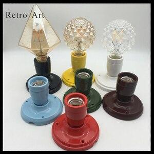 Image 5 - בציר קרמיקה תקרת עלה מנורת כבל סט צבעוני e27 e26 קרמיקה מנורת בעל עם תקרת עלה