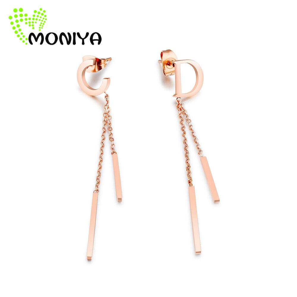Moniya Trendy C & D Initial Drop Dangle Earrings Rose Gold Color Stainless  Steel Chain Tassel