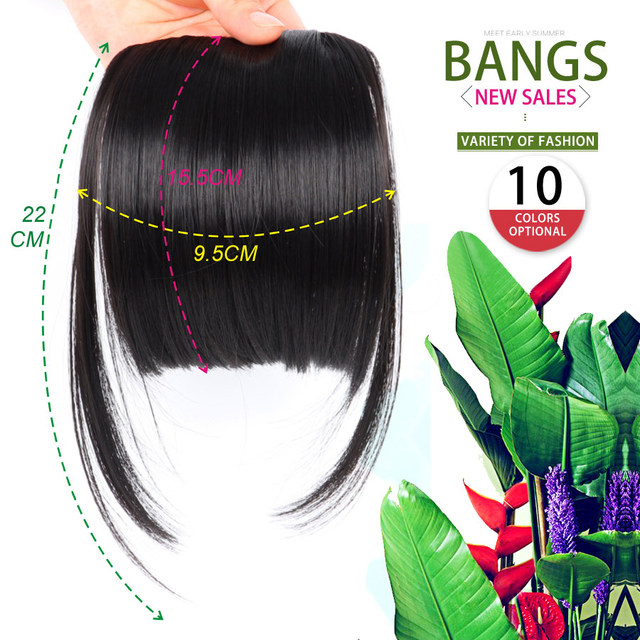 AliLeader Black Brown Blonde Fake Fringe Clip In Bangs Hair Extensions With High Temperature Synthetic Fiber 1