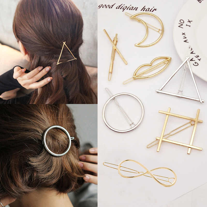 Fashion Jewelry Silver Gold Punk Hollow Round Triangle Hairpins Women Girls Party Accessories Love Heart Moon Hair Clips