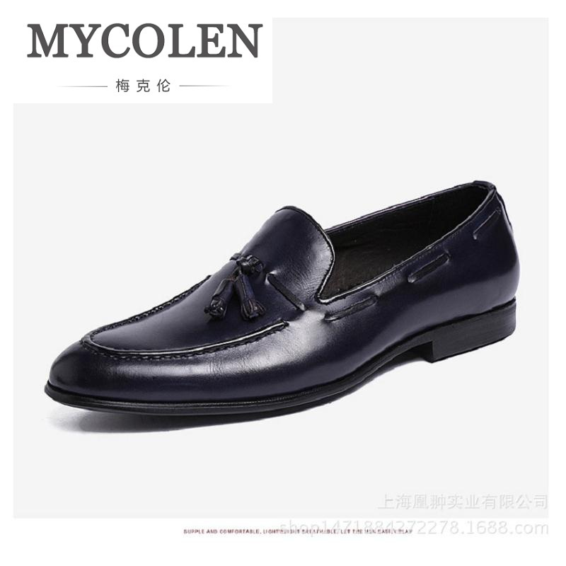 MYCOLEN Leather Fashion Men Shoes Handmade Casual Dress Oxford Shoes Brand High Quality Flats tassel and leather casual Shoes full grain leather men leather shoes top quality men flats shoes handmade men casual shoes for men